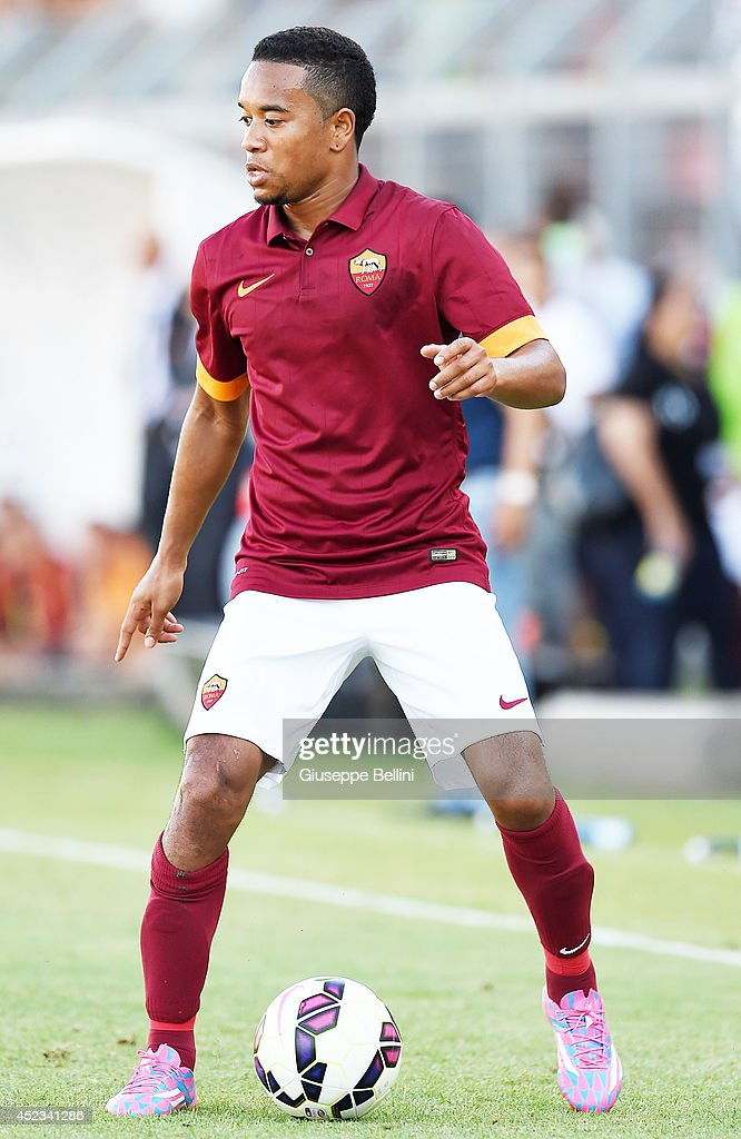 Urbi Emanuelson of Roma in action during the friendly match between AS Roma and Indonesia U23 at Stadio Centro d'Italia Manlio Scopigno on July 18...