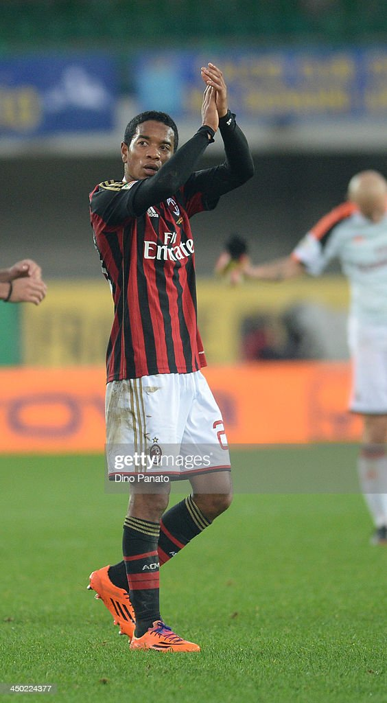 Urby Emanuelson of AC Milan applaud fans after the Serie A match between AC Chievo Verona and AC Milan at Stadio Marc'Antonio Bentegodi on November...