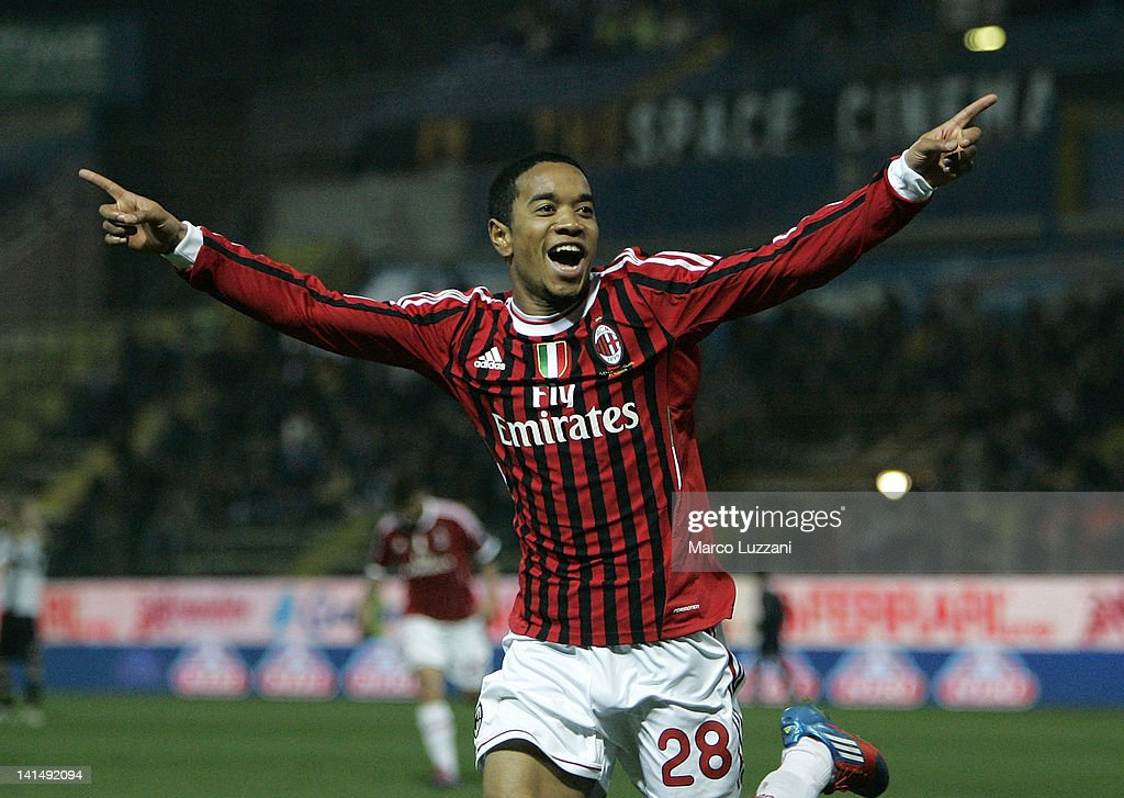 Urby Emanuelson of AC Milan celebrates his goal during the Serie A match between Parma FC and AC Milan at Stadio Ennio Tardini on March 17 2012 in...