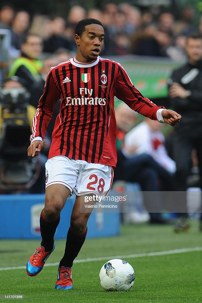 Urby Emanuelson of AC Milan in action during the Serie A match between AC Milan and US Lecce at Stadio Giuseppe Meazza on March 11 2012 in Milan Italy