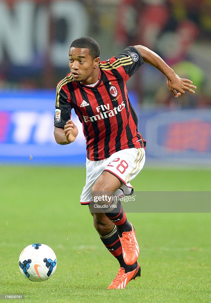 <a gi-track='captionPersonalityLinkClicked' href=/galleries/search?phrase=Urby+Emanuelson&family=editorial&specificpeople=594399 ng-click='$event.stopPropagation()'>Urby Emanuelson</a> of AC Milan in action during the Serie A match between AC Milan and Cagliari Calcio at San Siro Stadium on September 1, 2013 in Milan, Italy.