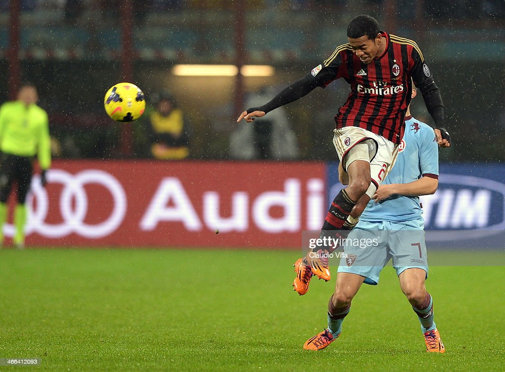 Urby Emanuelson of AC Milan in action during the Serie A match between AC Milan and Torino FC at San Siro Stadium on February 1 2014 in Milan Italy