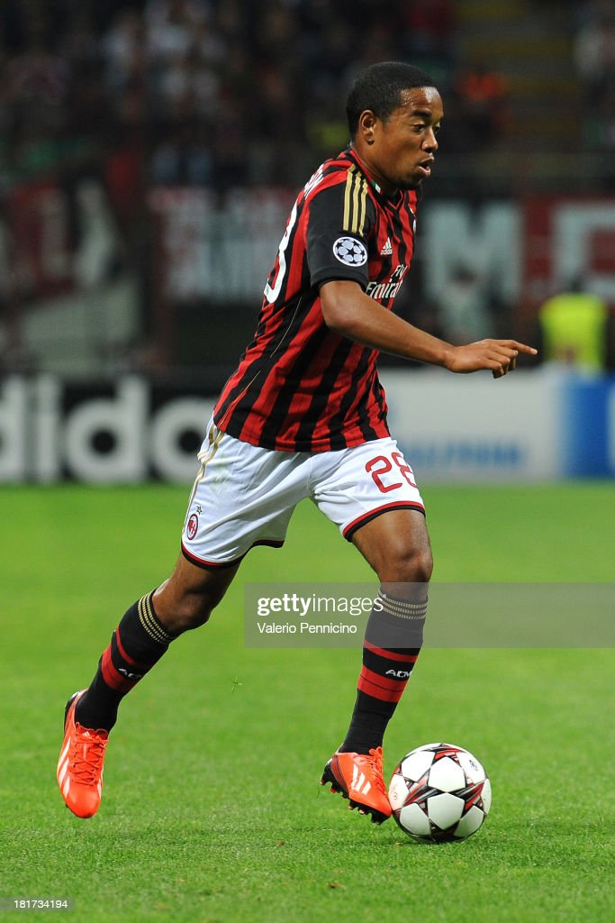 Urby Emanuelson of AC Milan in action during the UEFA Champions League group H match between AC Milan and Celtic at Stadio Giuseppe Meazza on...