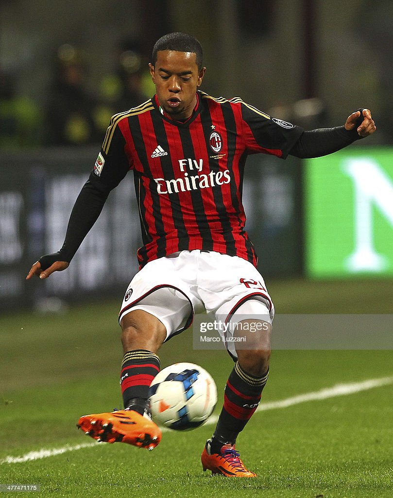 Urby Emanuelson of AC Milan kicks a ball during the Serie A match between AC Milan and Juventus at San Siro Stadium on March 2 2014 in Milan Italy
