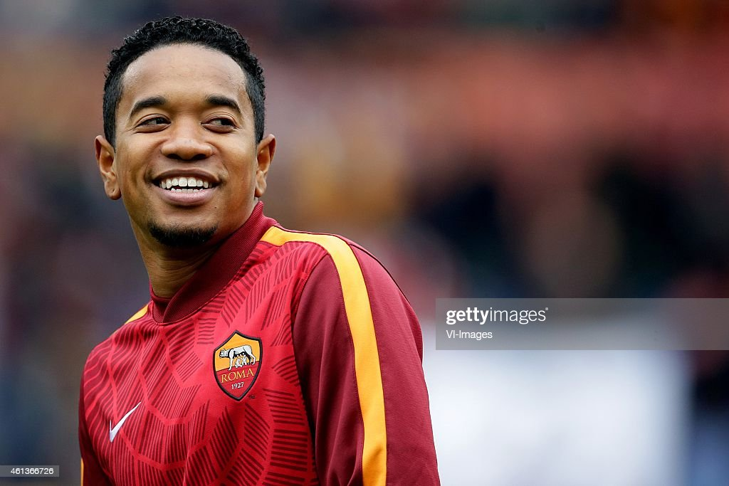 Urby Emanuelson of AS Roma during the Serie A match between AS Roma and Lazio Roma on January 112014 at the Stadio Olimpico in Rome Italy
