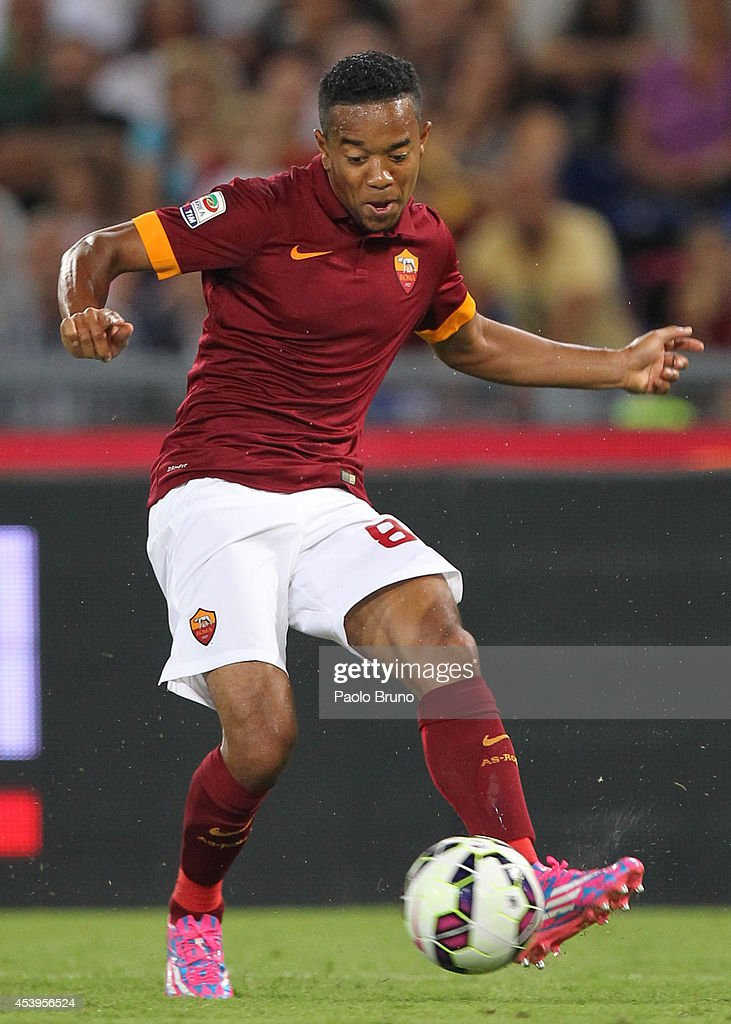<a gi-track='captionPersonalityLinkClicked' href=/galleries/search?phrase=Urby+Emanuelson&family=editorial&specificpeople=594399 ng-click='$event.stopPropagation()'>Urby Emanuelson</a> of AS Roma in action during the pre-season friendly match between AS Roma and Fenerbache SK at Stadio Olimpico on August 19, 2014 in Rome, Italy.