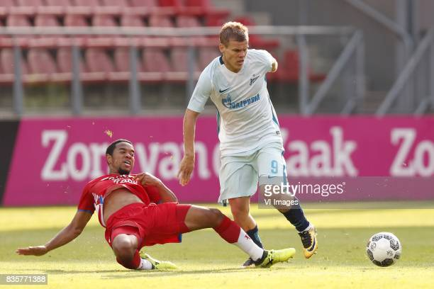 Urby Emanuelson of FC Utrecht Aleksandr Kokorin of FC Zenit during the UEFA Europa League fourth round qualifying first leg match between FC Utrecht...