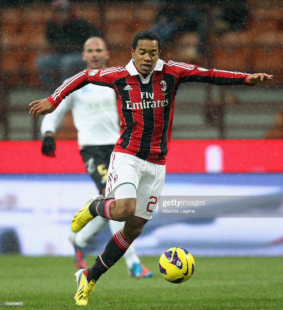 Urby Emanuelson of Milan during the TIM Cup match between AC Milan and Reggina Calcio at San Siro Stadium on December 13 2012 in Milan Italy