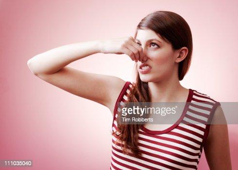 Urghhh, bad smell. : ストックフォト