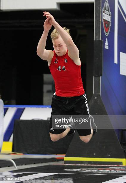 Urho Vaakanainen does the Long Jump during the NHL Combine at HarborCenter on June 3 2017 in Buffalo New York