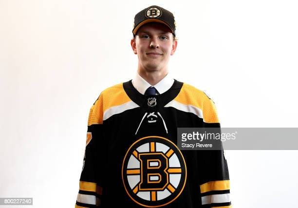 Urho Vaakanainen poses for a portrait after being selected 18th overall by the Boston Bruins during the 2017 NHL Draft at the United Center on June...