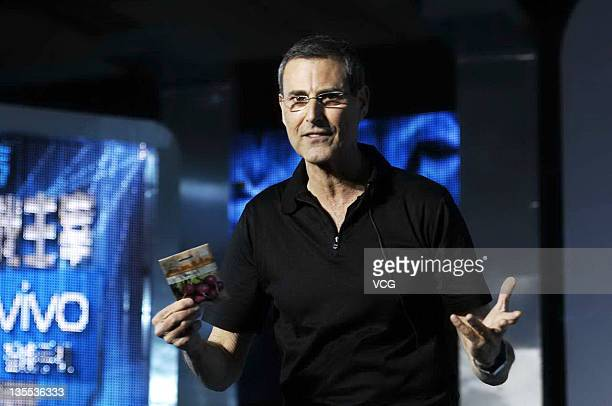 Uri Geller performs on stage during a televison show of Jiangsu TV on December 11 2011 in Beijing China
