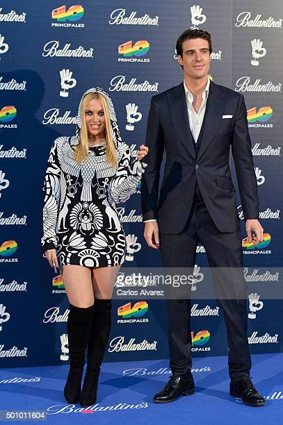 Uri Sabat and Daniela Blume attend the 40 Principales Awards 2015 photocall at the Barclaycard Center on December 11 2015 in Madrid Spain