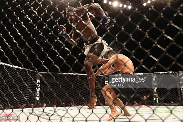Uriah Hall of Jamaica kicks Gegard Mousasi of Iran in their middleweight bought during UFC Fight Night at Saitama Super Arena on September 27 2015 in...