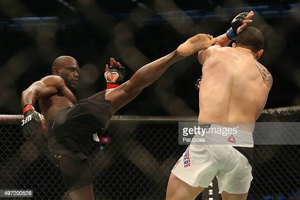 Uriah Hall of Jamaica kicks Robert Whittaker of New Zealand in their middleweight bout during the UFC 193 event at Etihad Stadium on November 15 2015...