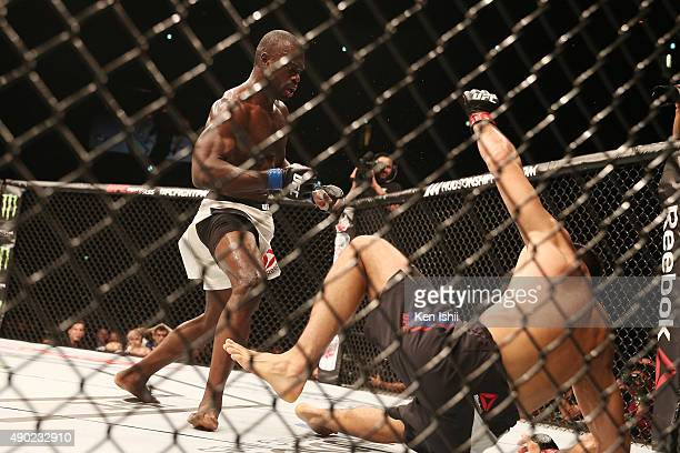 Uriah Hall of Jamaica knocks out Gegard Mousasi of Iran in their middleweight bought during UFC Fight Night at Saitama Super Arena on September 27...