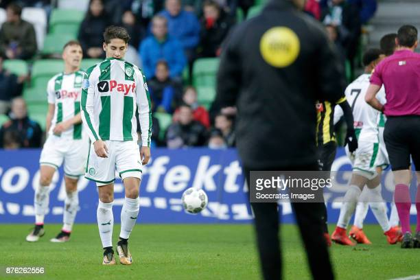 Uriel Antuna of FC Groningen is leaving the pitch after receiving a red card during the Dutch Eredivisie match between FC Groningen v Vitesse at the...