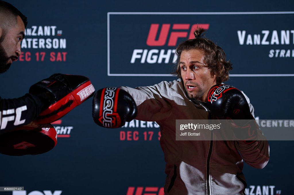 Urijah Faber holds an open training session for fans and media at the Golden 1 Center on December 15, 2016 in Sacramento, California.