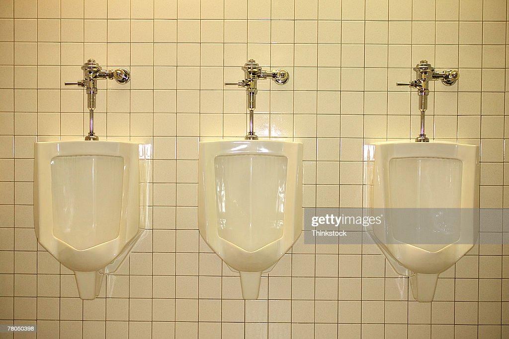 Urinals in a restroom