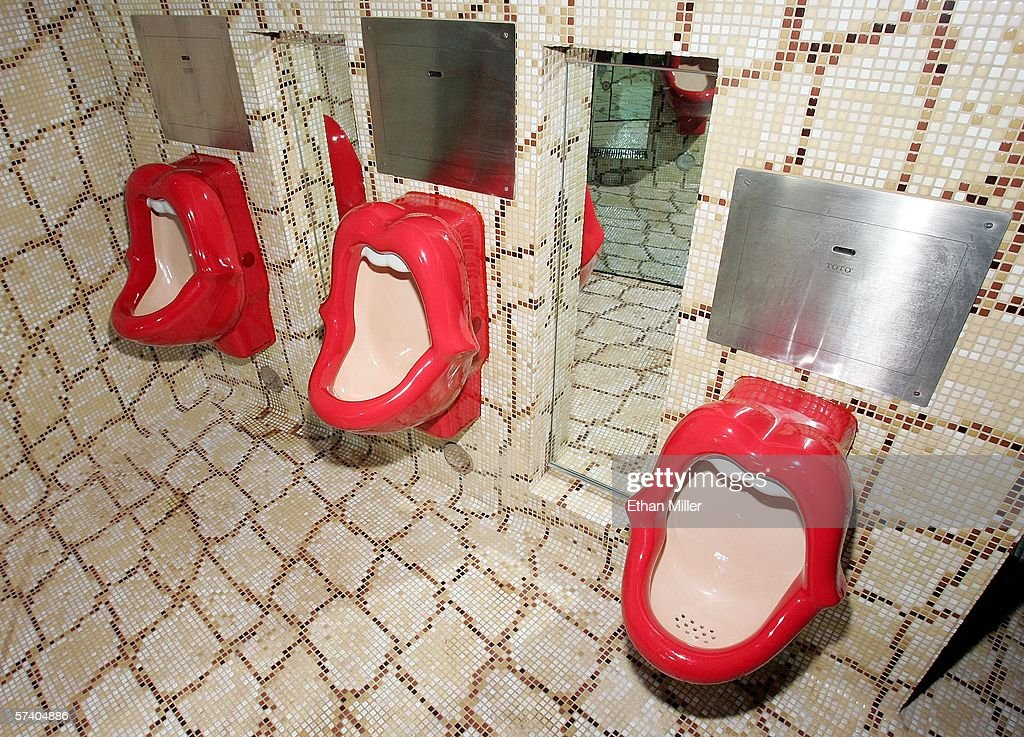Urinals in the men's rest room are shown at Rande Gerber's Cherry Nightclub inside the Red Rock Casino April 22 2006 in Las Vegas Nevada