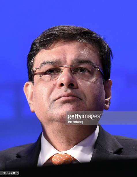 Urjit Patel governor of the Reserve Bank of India listens during the Group of Thirty International Banking Seminar in Washington DC US on Sunday Oct...