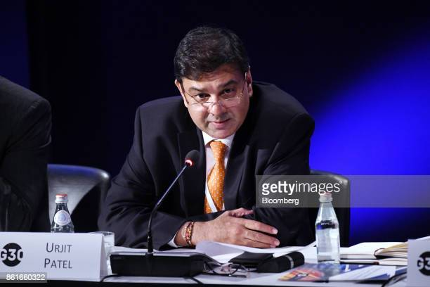 Urjit Patel governor of the Reserve Bank of India speaks during the Group of Thirty International Banking Seminar in Washington DC US on Sunday Oct...