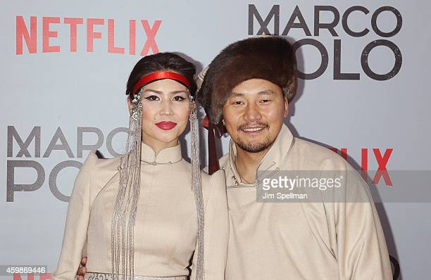 Urm Baljinnyam and Amarsaikhan Baljinnyam attend the 'Marco Polo' New York series premiere at AMC Lincoln Square Theater on December 2 2014 in New...