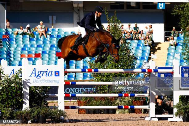 Urmas Raag riding Ibelle van de Grote Haart during Nations Cup Part 1 of the Equestrian European Championships on August 23 2017 in Gothenburg Sweden