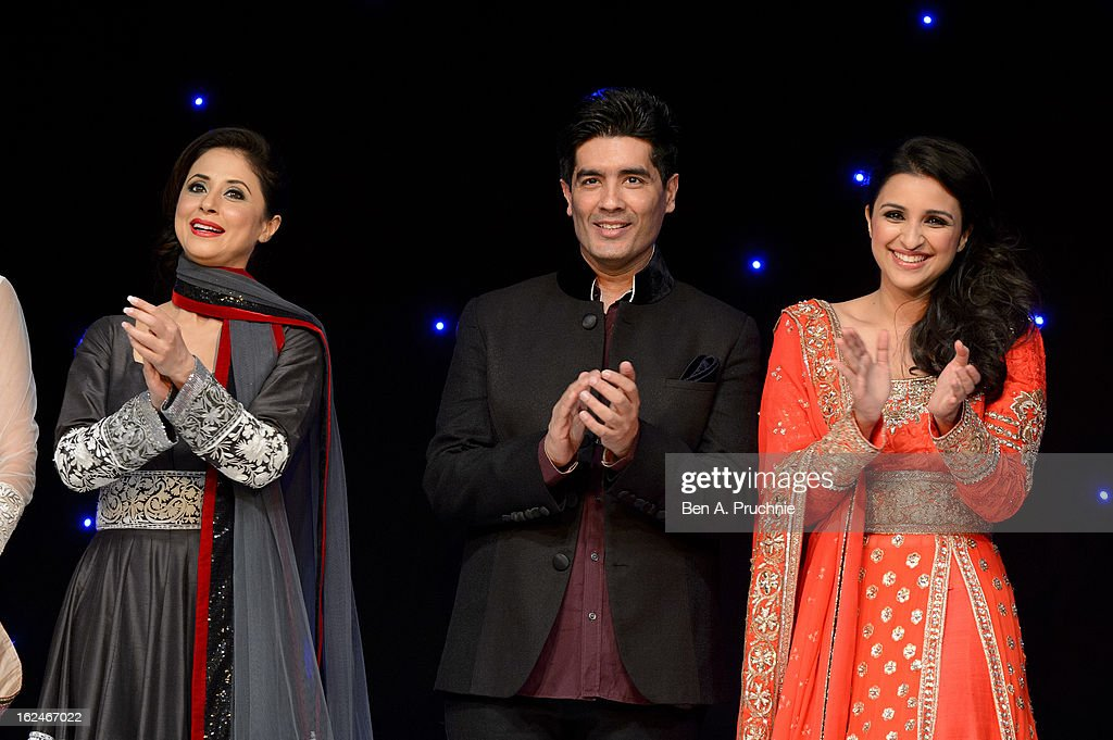 <a gi-track='captionPersonalityLinkClicked' href=/galleries/search?phrase=Urmila+Matondkar&family=editorial&specificpeople=2123211 ng-click='$event.stopPropagation()'>Urmila Matondkar</a>, Manish Malhotra and Parineeti Chopra attends a charity fundraising event hosted by Manish Malhotra in aid of 'Save the Girl Child' at The Grosvenor House Hotel on February 23, 2013 in London, England.