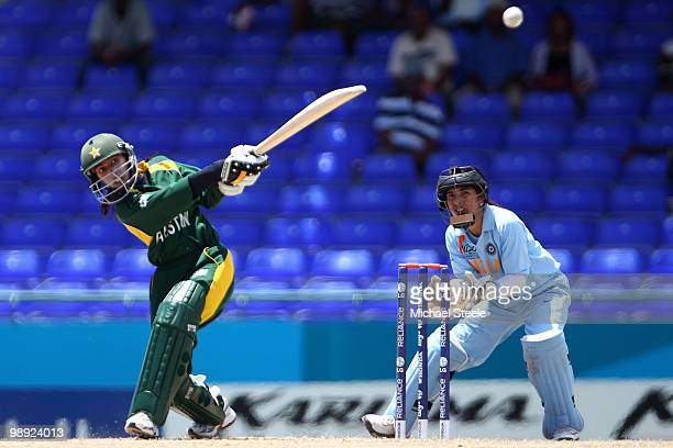 Urooj Mumtaz Khan of Pakistan hits out during the ICC T20 Women's World Cup Group B match between India and Pakistan at Warner Park on May 8 2010 in...