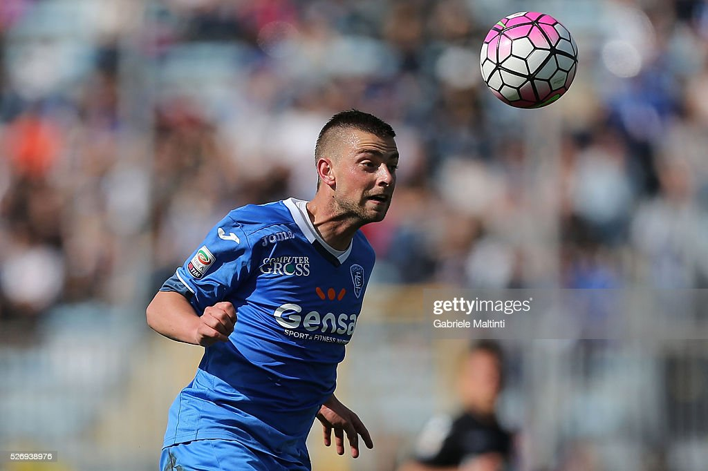 Uros Cosic of Empoli FC in action during the Serie A match between Empoli FC and Bologna FC at Stadio Carlo Castellani on May 1, 2016 in Empoli, Italy.
