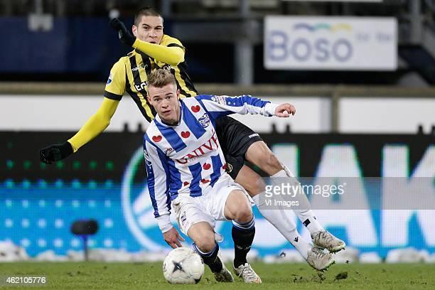 Uros Djurdjevic of Vitesse Daley Slinkgraven of sc Heerenveen during the Dutch Eredivisie match between SC Heerenveen and Vitesse at the Abe Lenstra...