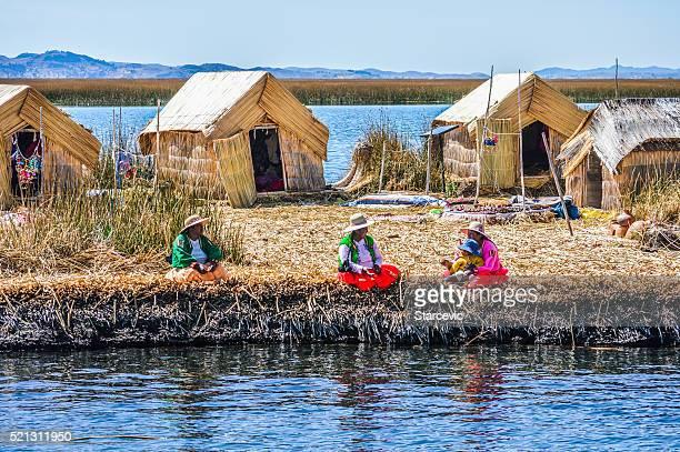 Uros Islands on Lake Titicaca in Peru
