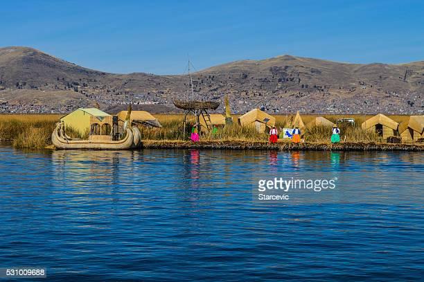 Ilhas Los Uros no Lago Titicaca no Peru
