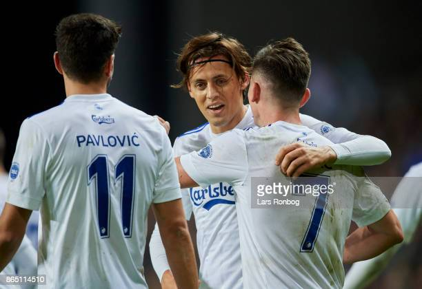 Uros Matic and Benjamin Verbic of FC Copenhagen celebrate after scoring their first goal during the Danish Alka Superliga match between FC Copenhagen...