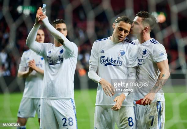 Uros Matic and Benjamin Verbic of FC Copenhagen celebrate after the Danish Alka Superliga match between FC Copenhagen and AGF Aarhus at Telia Parken...