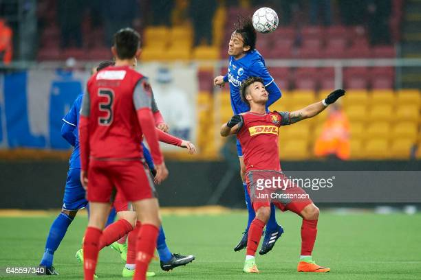 Uros Matic of FC Copenhagen and Emiliano Marcondes Hansen of FC Nordsjalland compete for the ball during the Danish Alka Superliga match between FC...