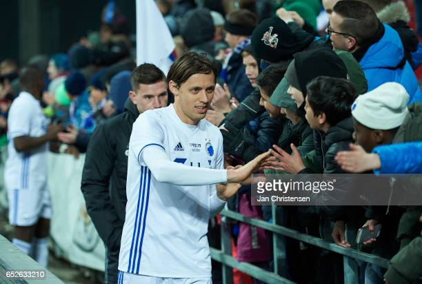 Uros Matic of FC Copenhagen and fans after the Danish Alka Superliga match between FC Copenhagen and Esbjerg fB at Telia Parken Stadium on March 12...