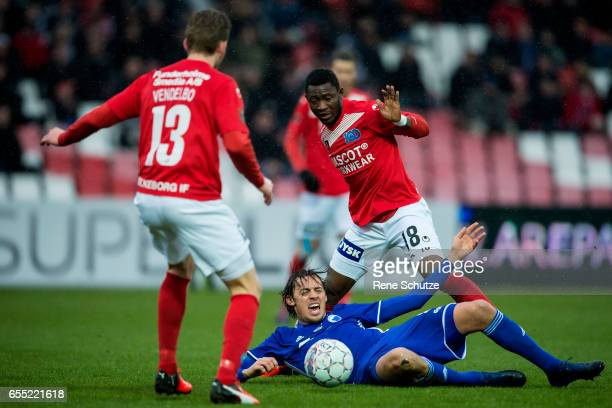 Uros Matic of FC Copenhagen and Ibrahim Moro of Silkeborg IF and Mikkel Vendelbo of Silkeborg IF the Danish Alka Superliga match between Silkeborg IF...