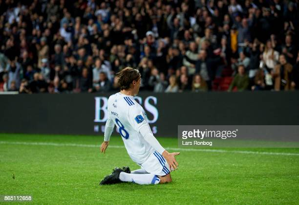 Uros Matic of FC Copenhagen celebrates after scoring their first goal during the Danish Alka Superliga match between FC Copenhagen and AGF Aarhus at...