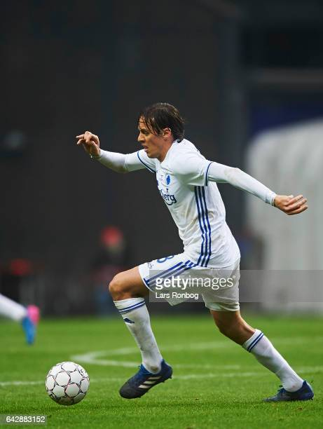 Uros Matic of FC Copenhagen controls the ball during the Danish Alka Superliga match between FC Copenhagen and Brondby IF at Telia Parken Stadium on...