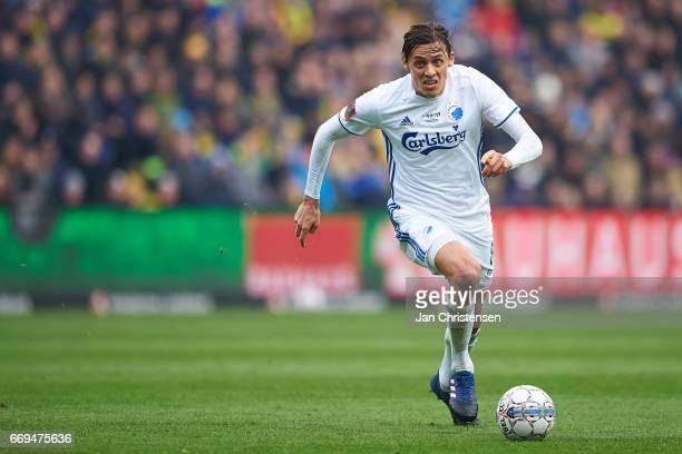 Uros Matic of FC Copenhagen controls the ball during the Danish Alka Superliga match between Brondby IF and FC Midtjylland at Brondby Stadion on...
