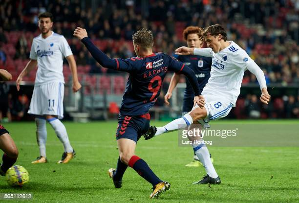 Uros Matic of FC Copenhagen scores the 10 goal during the Danish Alka Superliga match between FC Copenhagen and AGF Aarhus at Telia Parken Stadium on...