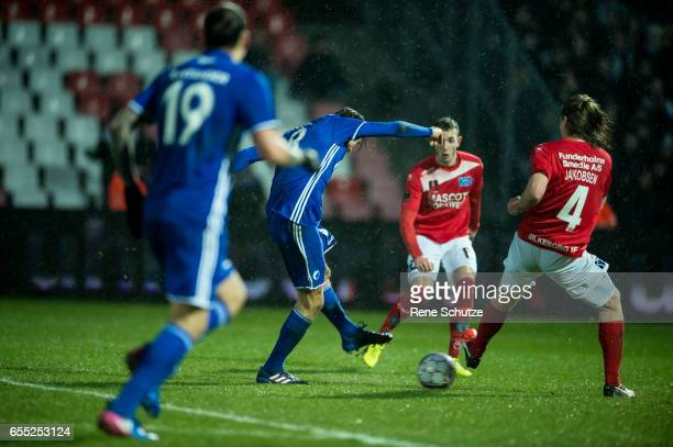 Uros Matic of FC Copenhagen scoring the Danish Alka Superliga match between Silkeborg IF and FC Copenhagen at Mascot Park on March 19 2017 in...