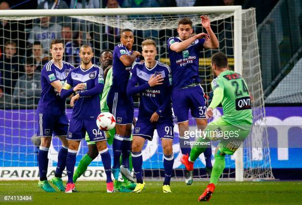 Uros Spajic defender of RSC Anderlecht and Sofiane Hanni midfielder of RSC Anderlecht and Youri Tielemans midfielder of RSC Anderlecht and Leander...