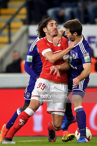 Uros Spajic defender of RSC Anderlecht battles for the ball with Ishak Belfodil forward of Standard Liege during the Jupiler Pro League match between...
