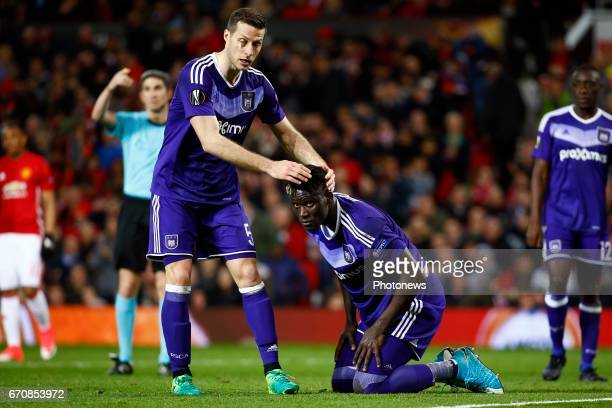 Uros Spajic defender of RSC Anderlecht during the match between Manchester United and Rsc AnKara Serigne Modou Mbodji defender of RSC Anderlecht...