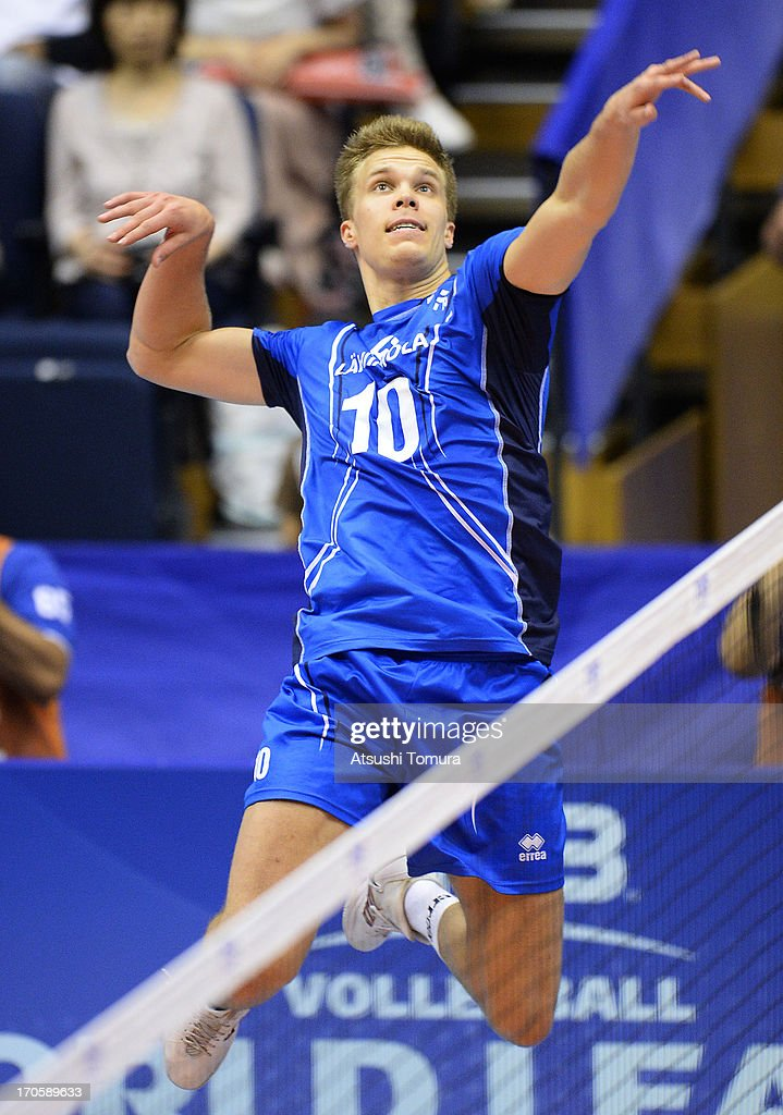 Urpo Sivula of Finland spikes the ball during the FIVB World League Pool C match between Japan and Finland at Park Arena Komaki on June 15, 2013 in Komaki, Japan.