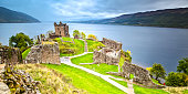 The world famous Urquhart Castle on a Rainy Day.