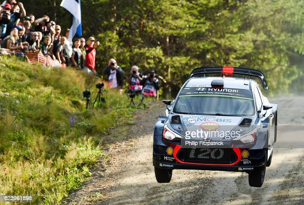 Urria Finland 28 July 2017 Thierry Neuville of Belgium and Nicolas Gilsoul of Belgium compete in their Hyundai Motorsport i20 Coupe WRC during...